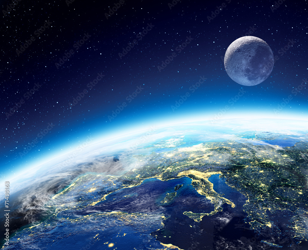Fototapeta Earth and moon view from space at night -  Europe