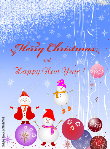Fototapety, obrazy: Christmas background with balls and a cheerful snowman