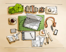 Working Table Top View Illustr...