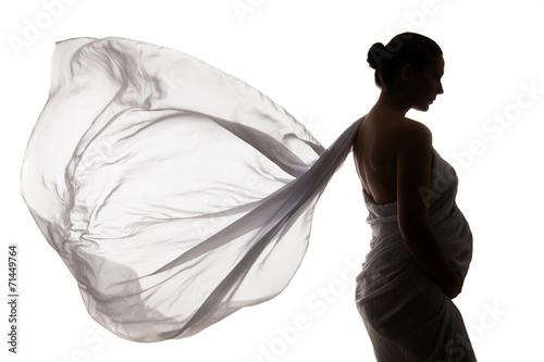 Fotografía  Beautiful pregnant woman in white chiffon shawl
