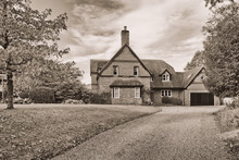 Retro Style Black And White Old English House