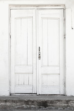 White Wall And Wooden Door, Background Texture