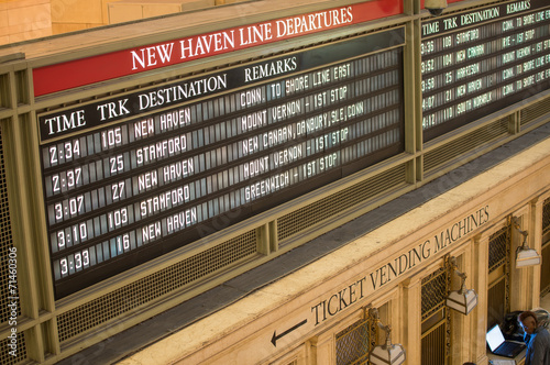 NEW YORK CITY - MAY 24, 2013: Timetable of Grand Central Station Canvas Print