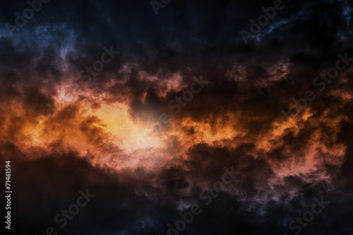 Aluminium Prints Heaven Dark colorful stormy cloudy sky background photo