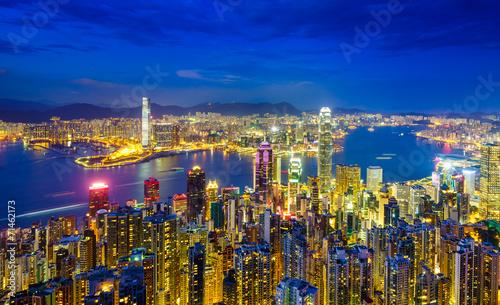 Fototapety, obrazy: Hong Kong skyline at night, China