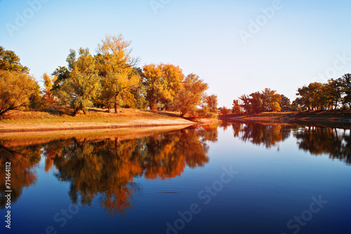Keuken foto achterwand Rood traf. Autumn landscape. View of the lake.