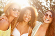 canvas print picture - Group Of Female Friends Having Party On Beach Together