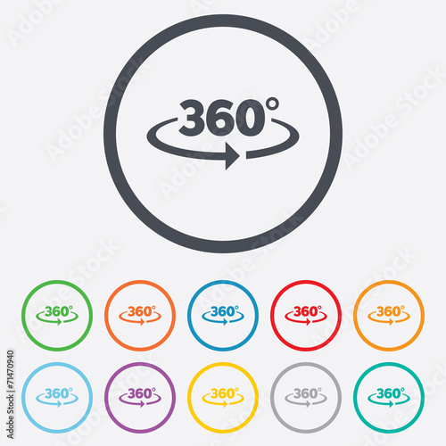 Poster  Angle 360 degrees sign icon. Geometry math symbol