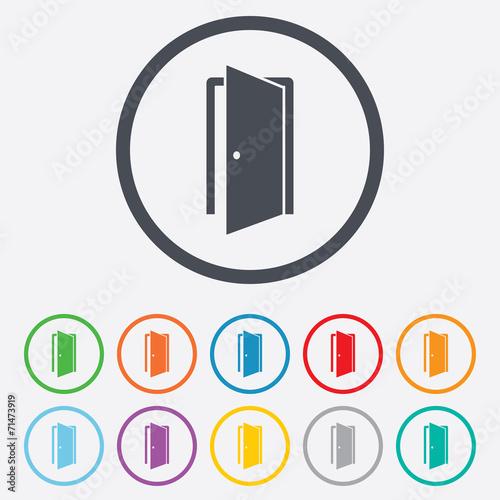 Door sign icon. Enter or exit symbol. Canvas Print