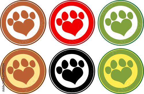 Love Paw Print Circle Banners. Collection Set