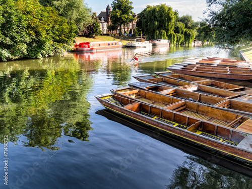 Poster Channel Punts lined up on river in Cambridge England
