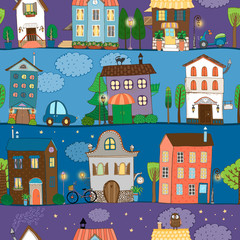 Panel Szklany Kolorowe domki Several colorful and cute house designs