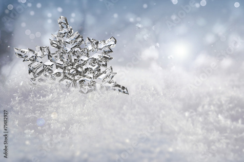 Beautiful snowflake outdoor in Winter.
