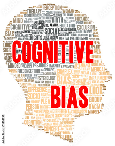 Cognitive bias word cloud shape Canvas Print