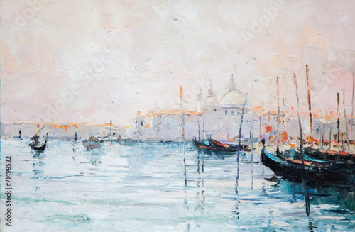 oil painting, marina, yacht, sea