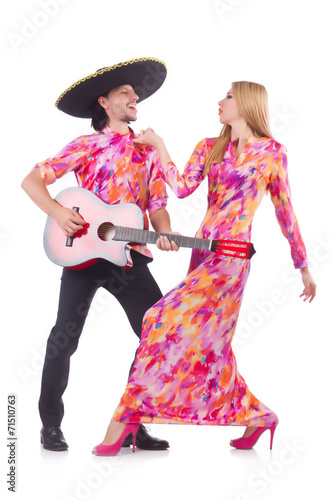 Keuken foto achterwand Art Studio Spanish pair playing guitar and dancing