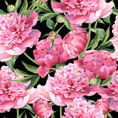 Panel Szklany Podświetlane Peonie Seamless watercolor background with pink peonies
