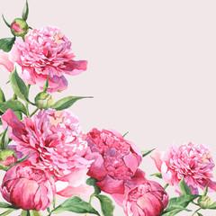 Fototapeta Peonie Pink watercolor peonies vintage greeting card
