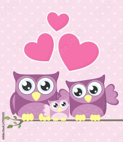 Canvas Prints Owls cartoon owl baby family