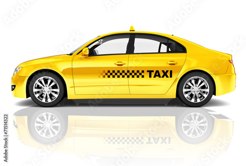 Fotografie, Obraz  Side View Studio Shot Of Yellow Sedan Taxi Car