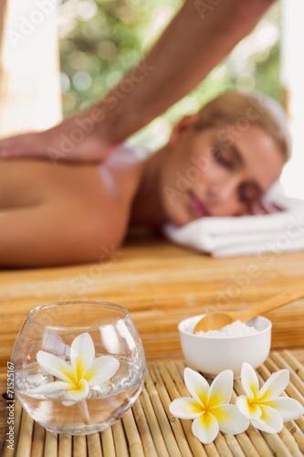 Garden Poster Spa Woman receiving back massage at spa center