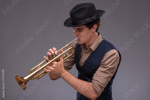 Photo Stands Music Band Handsome young jazz man