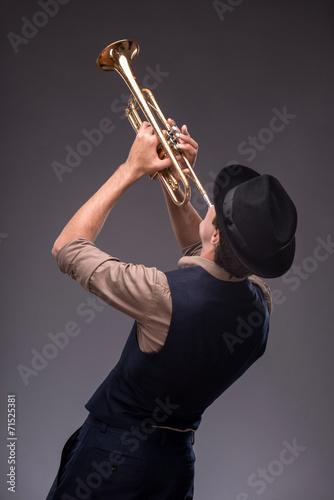 Handsome young jazz man Wallpaper Mural