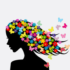 FototapetaBeautiful woman profile silhouettes with flowers and butterflies