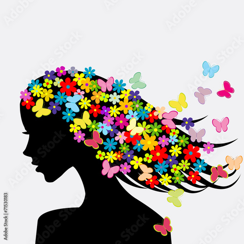 Beautiful woman profile silhouettes with flowers and butterflies - 71530183