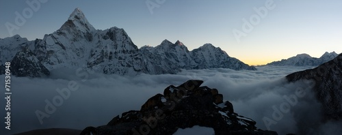 Wall Murals Nepal evening or night view of Ama Dablam