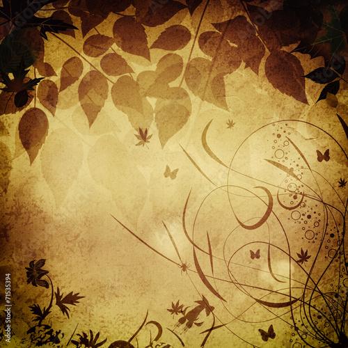 Fotobehang Vlinders in Grunge Grunge floral background.