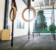 Gymnastic Rings Hanging in Cross Fitness Gym