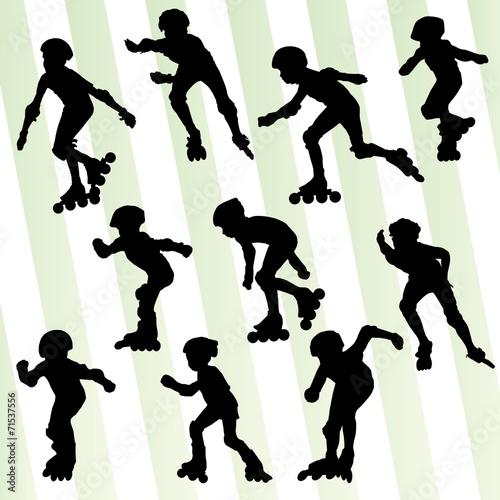 sylwetka-dziecka-na-rolkach-w-roznych-pozycjach