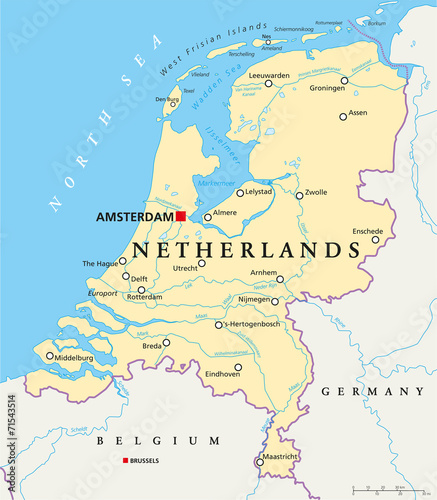 Leinwand Poster Netherlands Political Map