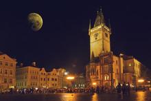Prague Old Town Hall At Night