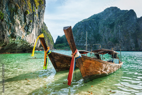 Fotografie, Obraz  Boats at sea against the rocks in Thailand