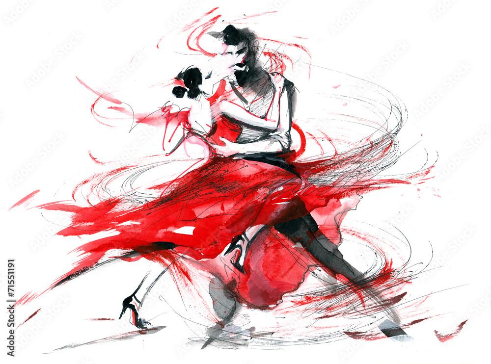 Fototapety, obrazy: Tango, abstrakcyjny obraz akwarelowy