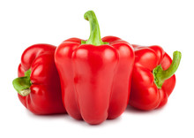 Three Red Ripe Bulgarian Peppers