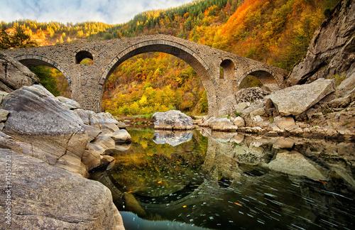 Poster Miel Autumn view with The Devil's Bridge, Bulgaria