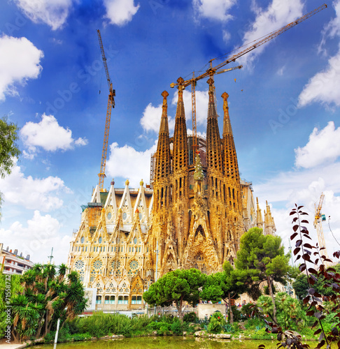 BARCELONA, SPAIN - SEPT 02, 2014: The Basilica of La Sagrada Fam Canvas Print