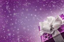 Christmas Or Valentine's Purple Gift With Silver Ribbon
