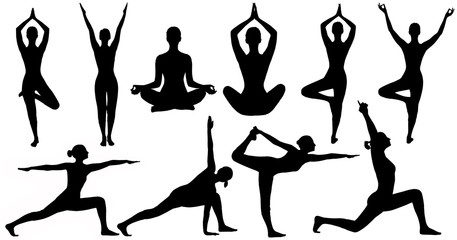 Naklejka Yoga Poses Woman Silhouette, Set Isolated Over White Background