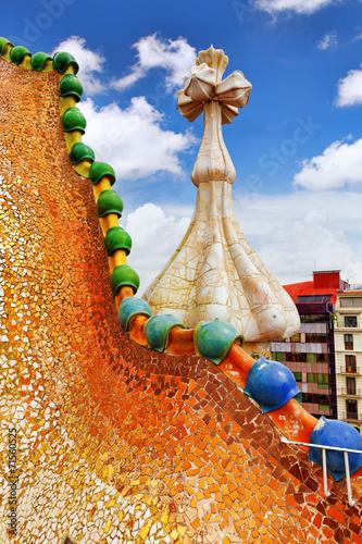 Photo  BARCELONA, SPAIN - SEPT  04, 2014: Roof, housetop  Gaudi's  crea