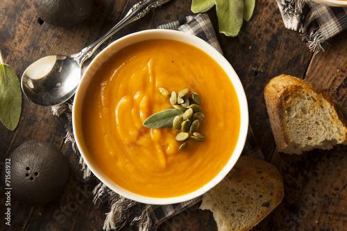Fotografie, Obraz  Homemade Autumn Butternut Squash Soup