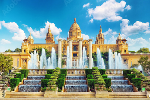 Canvas Print National Museum in Barcelona,Placa De Espanya,Spain.
