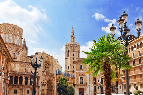 Square of Saint Mary's and Valencia Cathedral Temple in old tow
