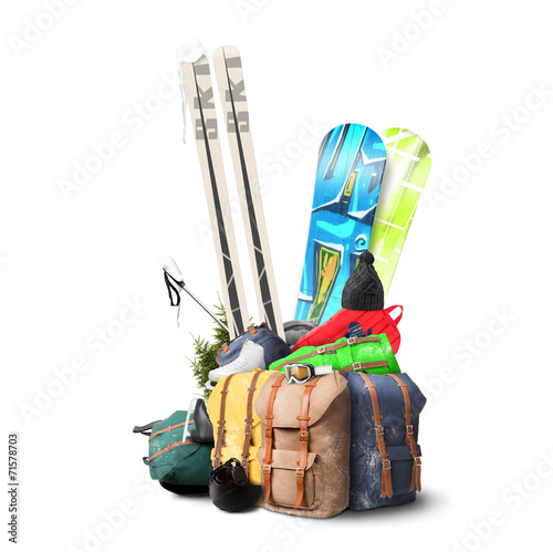 Papiers peints Glisse hiver Baggage tourist skier and snowboarder, winter travel