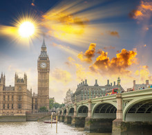 Westminster Bridge, London. River Thames And Big Ben Tower With