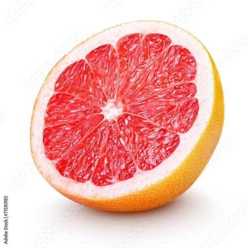 Fotografía  Half grapefruit citrus fruit on white with clipping path