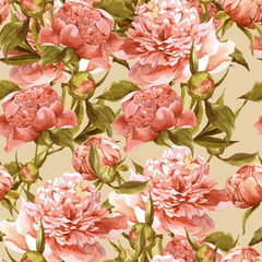 Panel Szklany Peonie Seamless watercolor background with pink peonies